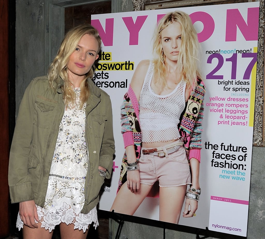 Kate Bosworth wore Dolce & Gabbana to pose next to a blown-up version of her Nylon Magazine cover at a party celebrating the issue in LA last night. The actress and jewelry designer had the support of her boyfriend, Alexander Skarsgard, at the event, though as usual the two skipped posing together. She's back home in California from whirlwind Fashion Week visits to NY and London. Alexander, meanwhile, has been rolling solo around town, and earlier this week he hit the red carpet with his True Blood costars to give fans their first look at what's already shaping up to be a sexy, shirtless season four.