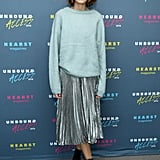 Teaming a cosy knit with a silver pleated skirt, Alexa gave us a lesson in modern grunge at the Magfront event in October 2015.