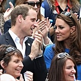 The duke and duchess of Cambridge chatted during the match.