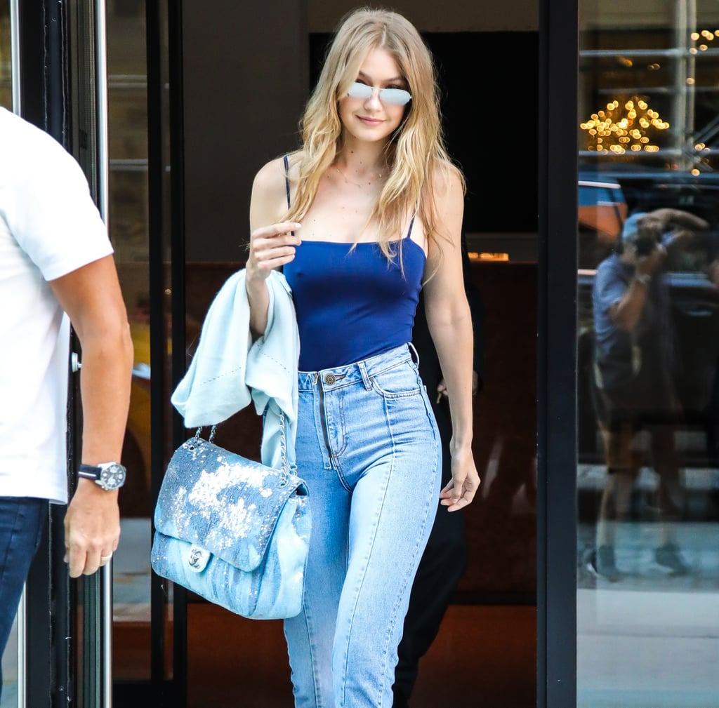 Gigi Hadid Blue Sequin Chanel Bag