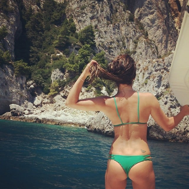 She showed off her backside during a trip to the Amalfi Coast in July 2014.