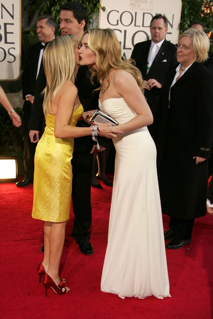 "Reese Witherspoon met Kate Winslet in 2007, and they've been buddies since. Reese said of their friendship, ""Imagine my good fortune when Kate Winslet moved into my neighborhood, rang my doorbell, and said, 'Dahling, Sam [Mendes] is off shooting and I believe our children are the same age. Could they possibly have a playdate, and, oh, by the way, it's almost 9 o'clock and I've had nothing to drink — do you have any wine?'"""
