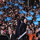 Obama helped Michelle off stage after a successful rally.