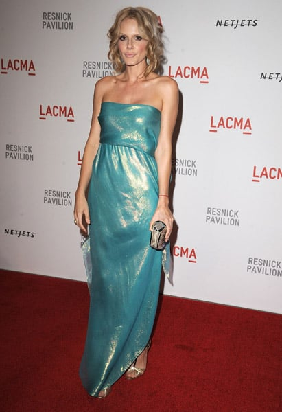 Monet Mazur opted for a shimmery turquoise number.