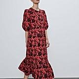 Zara Print Dress With Sequins