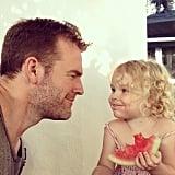 James Van Der Beek chowed down on watermelon with his daughter Olivia on Father's Day. Source: Instagram user vanderjames