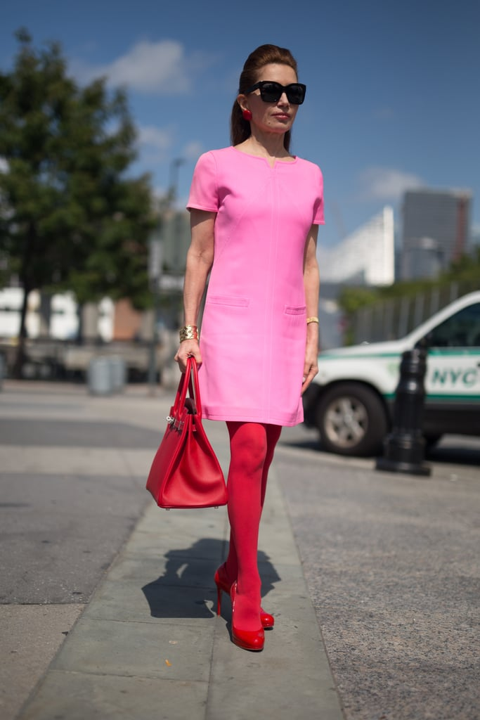 Jean Shafiroff tackled this daring trend by wearing a pair of red boots with a pink shift dress. To keep the outfit from appearing costume-like, skip the prints like Jean did and opt for clean, sleek silhouettes.