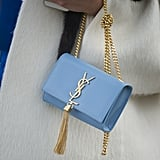 The prettiest baby blue hue on this YSL bag.