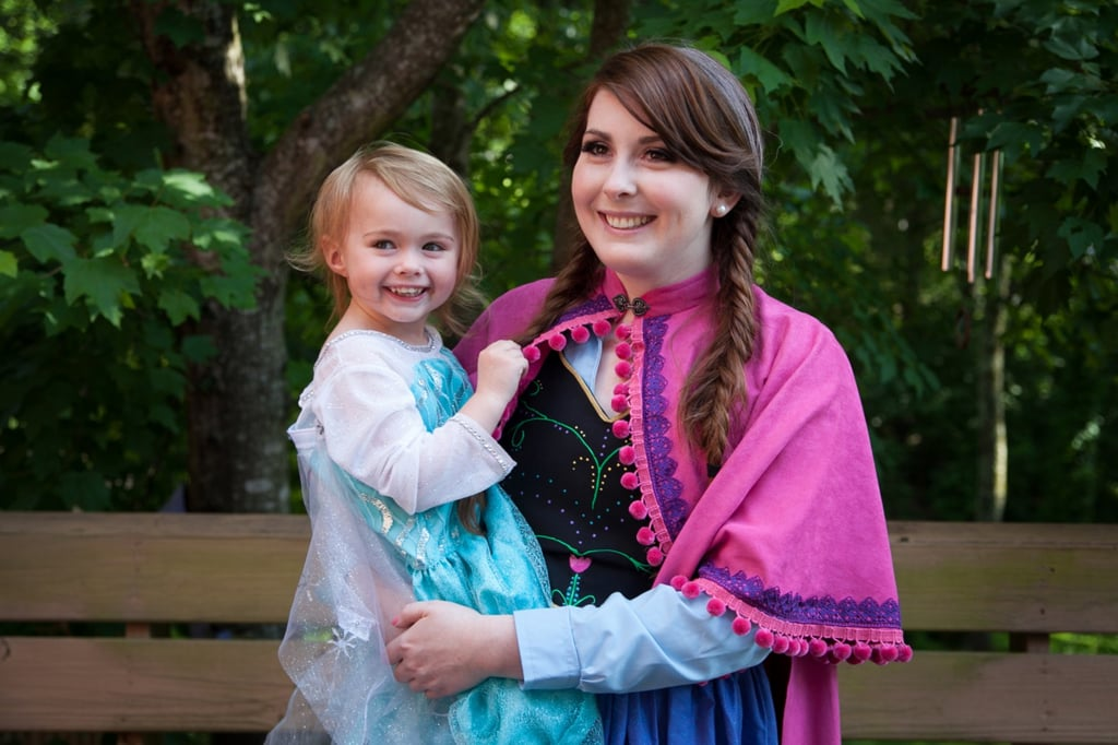 Mother and daughter wore Frozen costumes throughout the party, making an adorable Elsa and Anna.