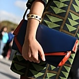 A sleek clutch was a cool counterpoint to bold print.