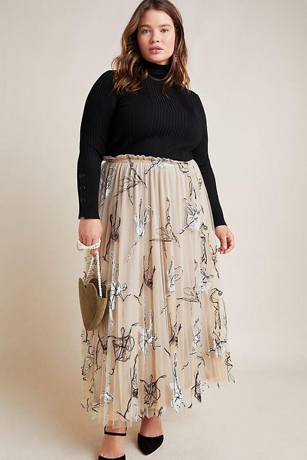 Georgette Pleated Tulle Maxi Skirt