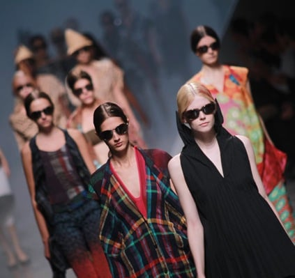 Japanese designer Issey Miyake debuted his Spring sunglasses collection on the catwalk during the finale of his show in Paris.
