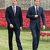 The pair visited the Tower of London to check out the poppy installation commemorating the 100th anniversary of WWI in August 2014.