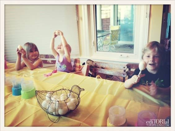 Tori Spelling's three oldest kids got busy decorating Easter eggs in advance of the holiday. Source: ToriSpelling.com