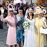 The Today show women looked incredible as the ladies of the royal wedding. Here's Kathy Lee Gifford as Princess Beatrice, Hoda Kotb as Princess Eugenie, Ann Curry as Kate Middleton, and Meredith Viera as Queen Elizabeth.