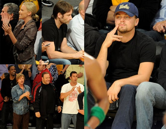 Pictures of Charlize Theron, Leonardo DiCaprio, David Duchovny, Adam Sandler, Chris Rock, and Hilary Swank at a Lakers Game