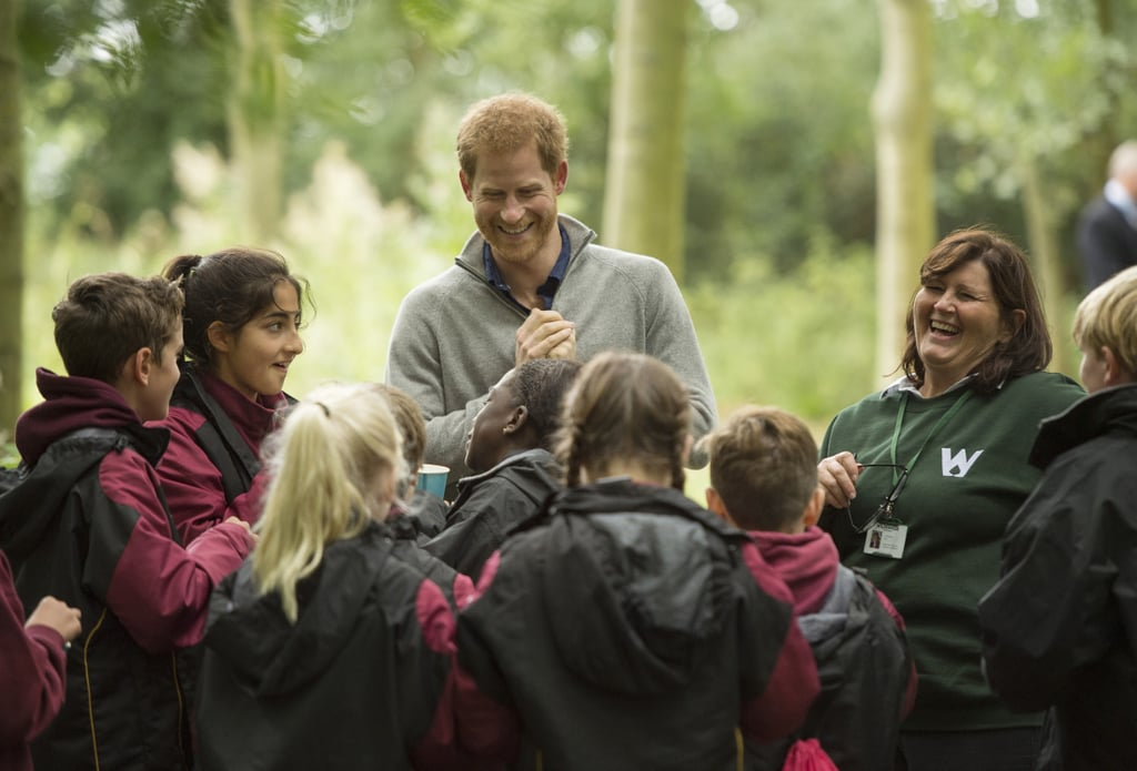 Prince Harry has had quite the busy year so far, and he doesn't seem to be slowing down anytime soon. On Thursday, the royal spent his morning at the Chatham Green Project, a conservation, education, and sustainability initiative run by The Wildness Foundation. During his visit, Harry met with a group of students from the TurnAround youth program and learned all about nettle tea making, shelter building, and fire lighting. The TurnAround charity aims to help people between the ages of 15 to 21 who struggle with family, social, and personal problems to overcome hardships through wilderness therapy.        Related:                                                                                                           8 Ways William and Harry Are Keeping Princess Diana's Legacy Alive               Harry's philanthropic outing comes just one day after reports surfaced that the royal flew his girlfriend, Meghan Markle, to Scotland to meet Queen Elizabeth II. Not only is that a huge milestone in and of itself, but it could also mean that wedding bells are in store. According to Us Weekly, palace aides have already starting preparing for an official engagement announcement. Still, the couple have yet to confirm anything, so it looks like we'll just have to wait and see.