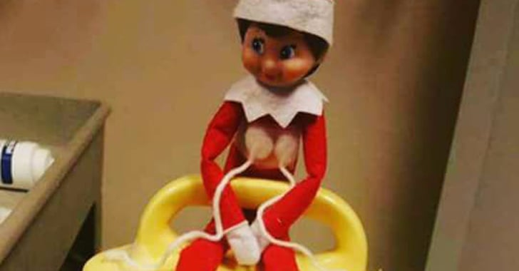 Hilarious Pumping Elf On The Shelf Setup Popsugar Moms