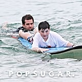 He taught children with autism how to surf at Australia's Bondi Beach in March 2014.