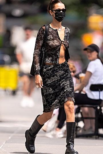 Bella Hadid's Susamusa Sheer Shirt and Floral Midi Skirt