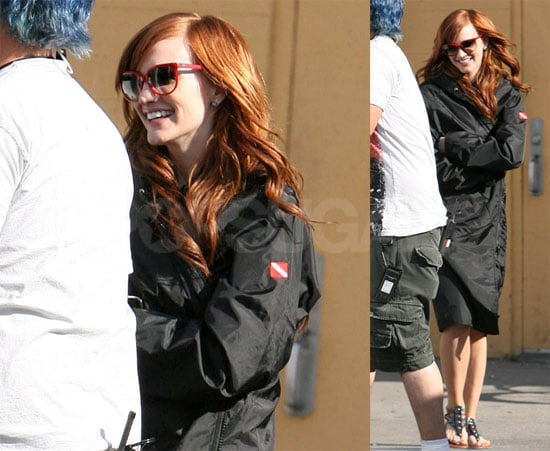 Photos of Ashlee Simpson on the Set of Melrose Place in LA