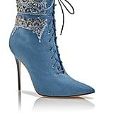 Rihanna x Manolo Blahnik Dancehall Cowgirl Jewel Denim Ankle Boots ($2,240)