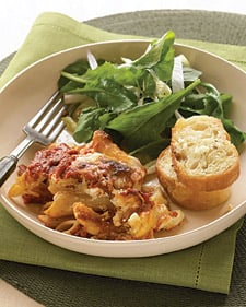 Fast & Easy Dinner: Baked Ziti with Italian Salad and Garlic Bread