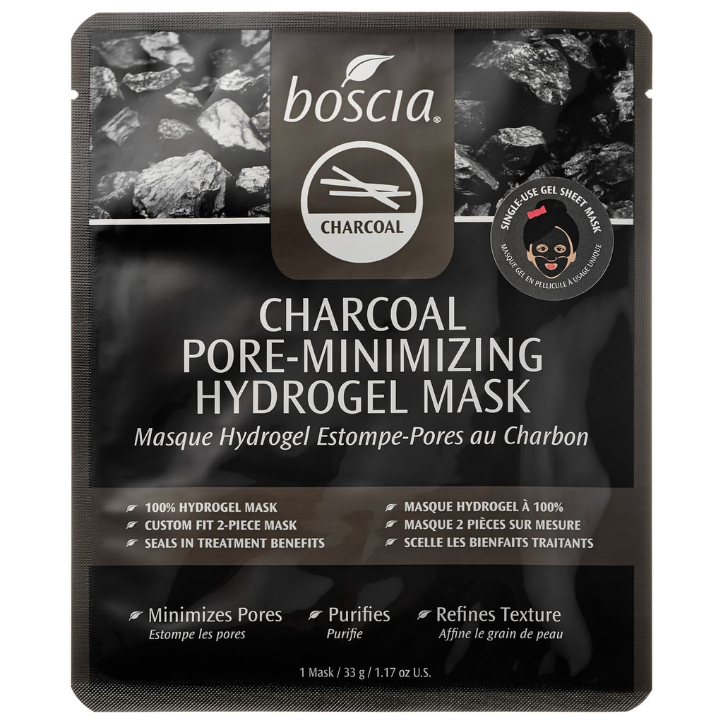 Best for: someone that feels more oily than a croissant.  Boscia Charcoal Pore-Minimizing Hydrogel Mask ($8) is packed with superabsorbant charcoal, which wicks up excess sebum without dehydrating your skin. The mask's black color is also a fun (and startling to roommates!) departure from the standard white.