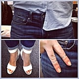 Zimmermann wedges, Etsy rings and a half-tucked Topshop shirt made for one cool ensemble on Alison!