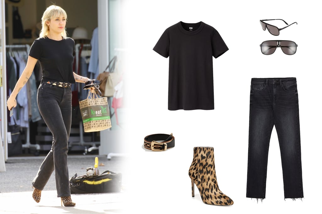 Miley Cyrus Wearing An All-Black Outfit With Leopard Booties