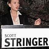 Scarlett Johansson got political as she endorsed family friend Scott Stringer as a 2013 NYC mayoral candidate by hosting a party in his honor at the Maritime Hotel in NYC.