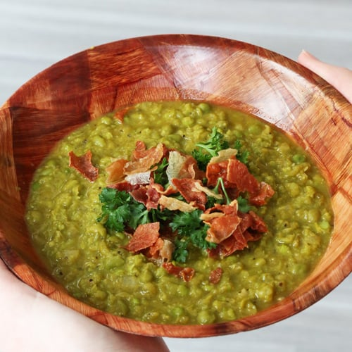 Slow-Cooker Pea Soup With Crispy Prosciutto Chips
