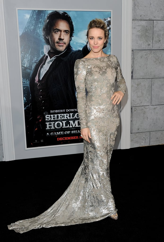 Rachel McAdams wore a floor-length dress to the premiere of Sherlock Holmes: A Game of Shadows.