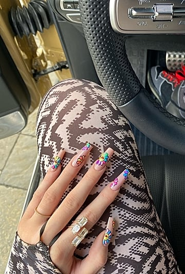 Kylie Jenner's Rainbow Flower Nails 2020