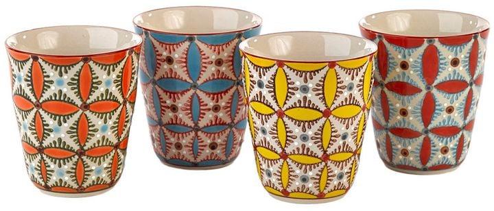 Pols Potten Color Hippy Set Of 4 Ceramic Cups