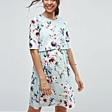 ASOS Double Layer Dress in Light Blue Base Floral