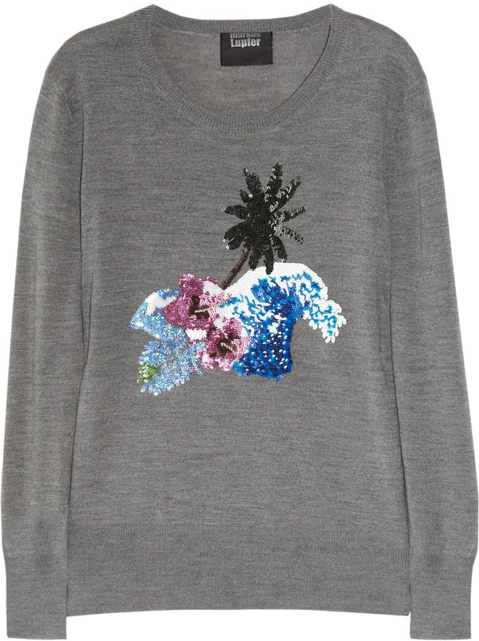 This Spring-perfect sweater would look cool with denim cutoffs or a black leather pencil skirt.  Markus Lupfer Palm Tree Sequined Wool Sweater ($480)