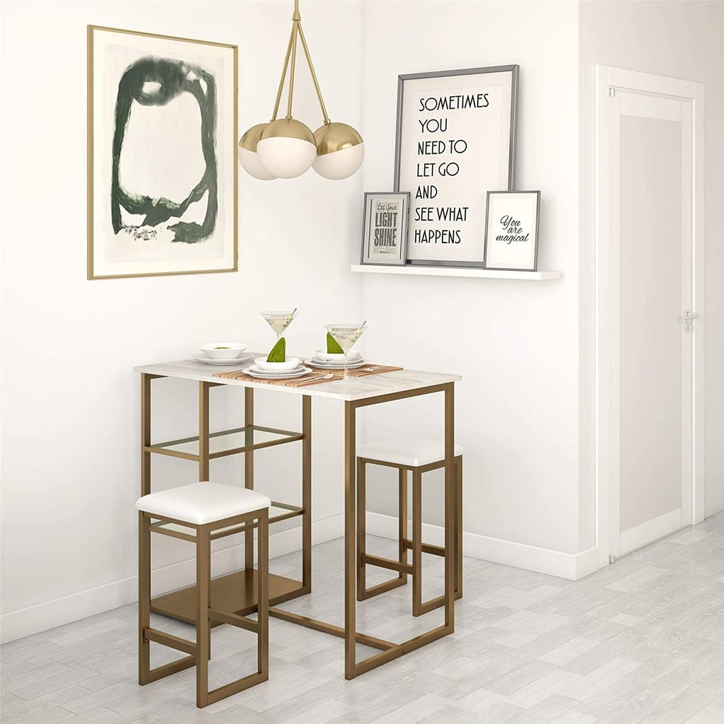 For Small Spaces: Dorel Living Tanner 3-Piece Brass Pub Set