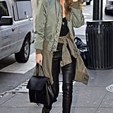 The Day Before, She Styled It With Her Bomber Jacket and Leather Pants