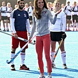 In March 2012, Kate wore a pair of running shoes while playing hockey with the GB teams in London.