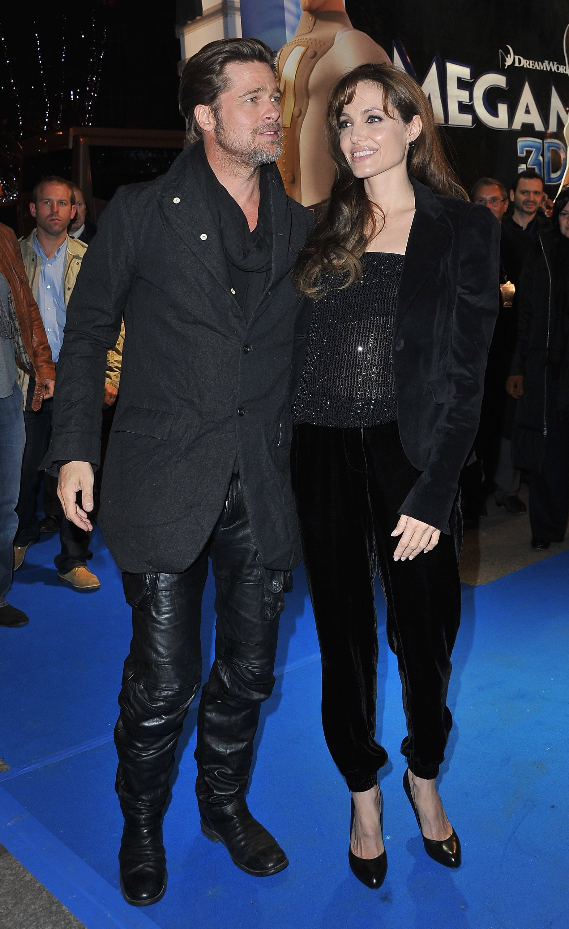brad pitt and rocks leather pants with angelina jolie at