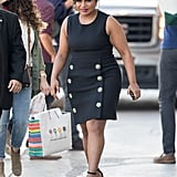Mindy headed to Jimmy Kimmel looking polished in a double-breasted Dolce & Gabbana sheath in June 2016.