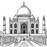 Get the coloring page: Taj Mahal