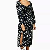Topshop Petite Floral-Print Square-Neck Midi Dress