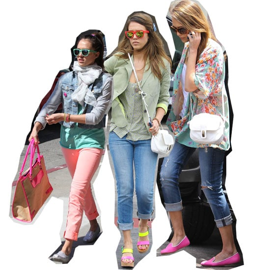 Snoop Jessica Alba's Off-Duty Neon Accesory Obsession: Shop Her Fluro Bags, Shoes, Sunnies and More!