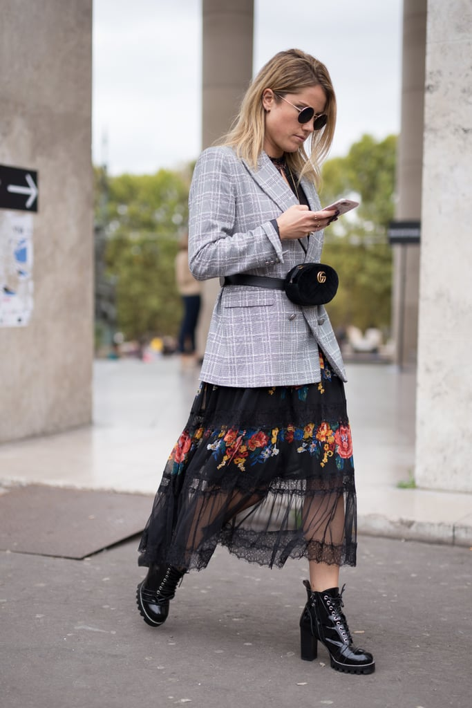 Wear One Over a Checkered Blazer and a Sheer Dress
