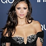 Nina Dobrev mixes many tones of brown to achieve her dark-to-light color. The shades range from chocolate at the roots to a more tawny hue at the tips.
