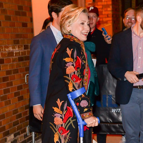 Hillary Clinton Wearing Embroidered Floral Coat