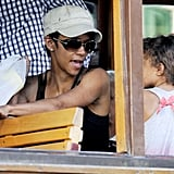 Halle Berry and Nahla Aubry rode a street car in Majorca.