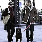 Anne Hathaway and Adam Shulman had a laugh while walking their dog in NYC.